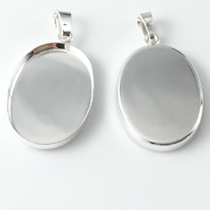 Sterling Silver Cabochon Pendant Setting 25x18mm